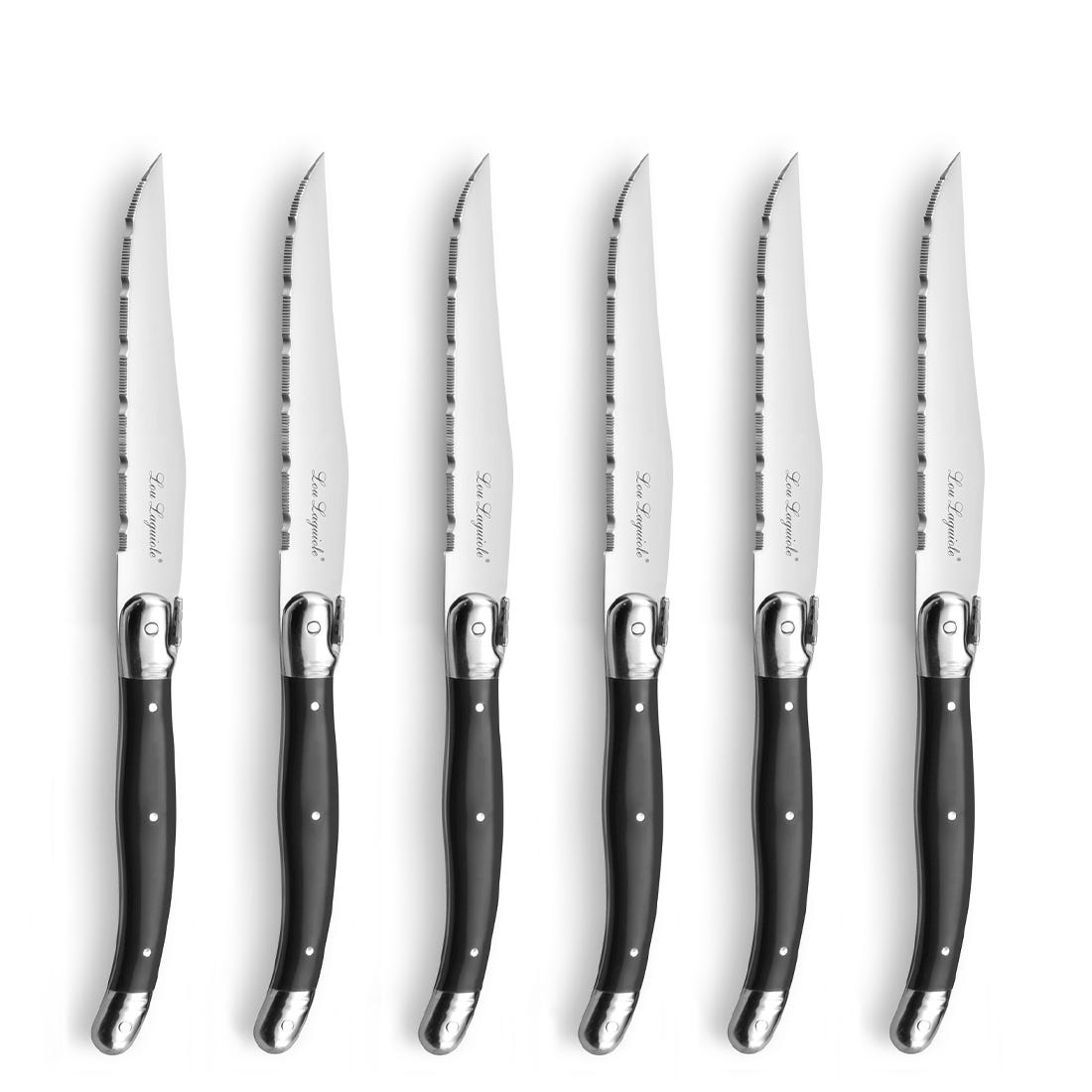Lou Laguiole Steak Knife Set 6-pieces anthracite 2511 TRADITION